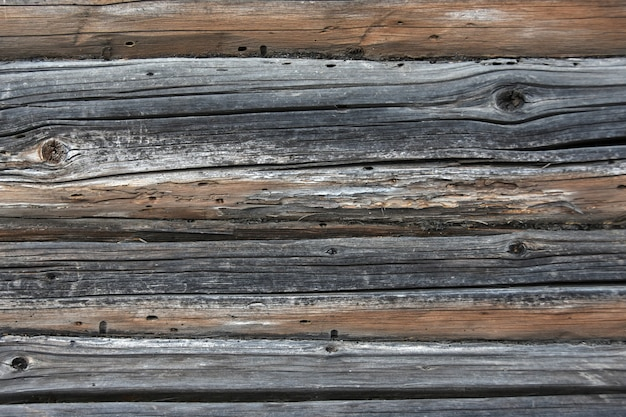Background texture of a wall of old wooden logs and boards