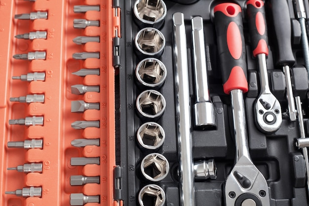 Background of a toolbox. wrenches of different sizes