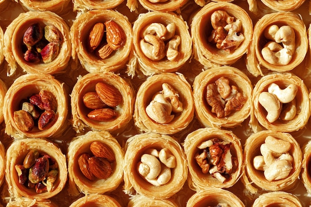 Background of traditional arabic dessert baklava with honey and nuts