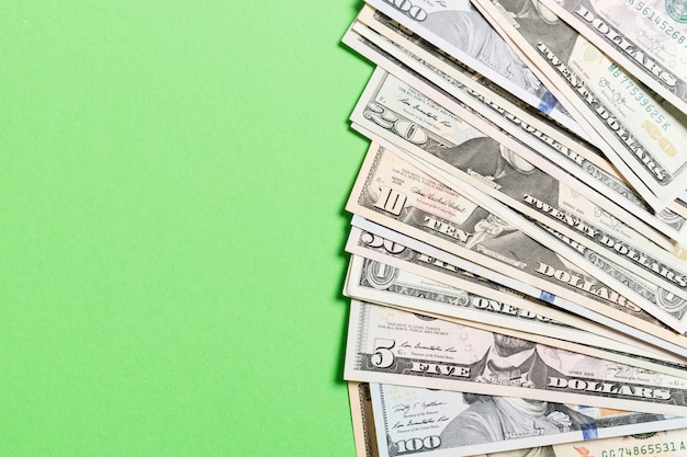 Background of us dollar bills money top view of business concept on background with copy space