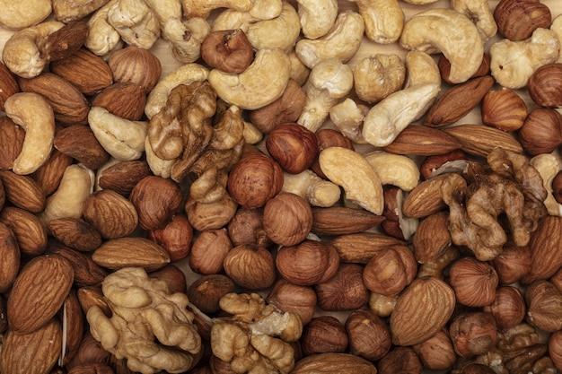 Background of various nuts. top view.