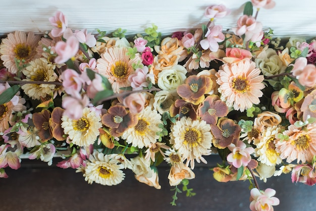 The background of the vintage beautiful flowers in colorful