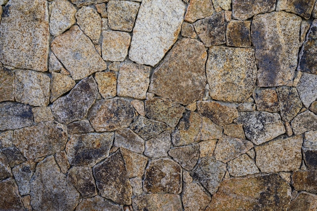 異なるテクスチャのセレクティブ フォーカスの水平方向の石の背景の壁