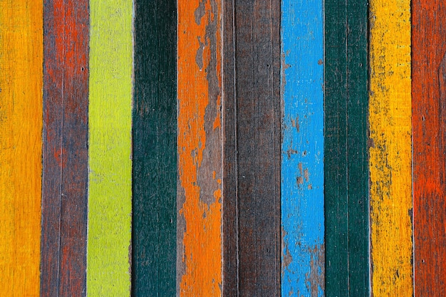 Background or wallpaper of multicolored wooden board