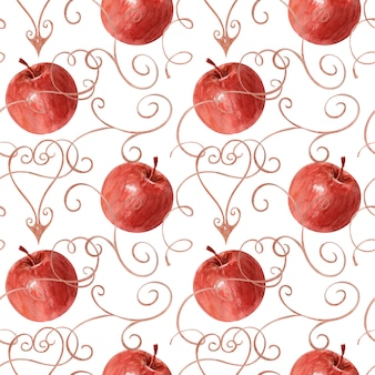 Background of watercolor drawing apples, leaves and frame