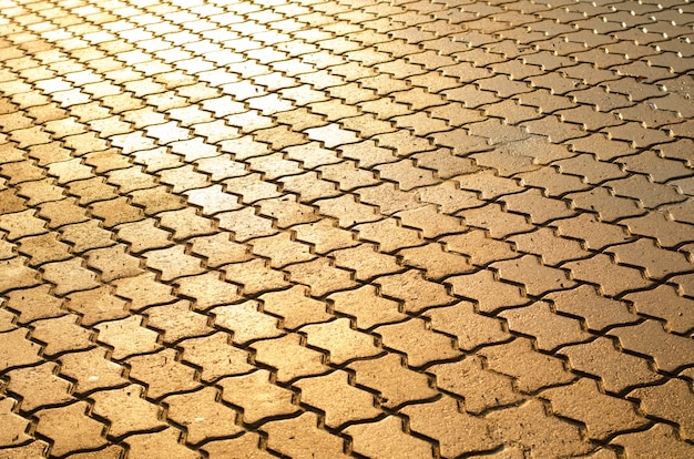 Background of wet cobblestone pavement lit with sun at sunset after rain