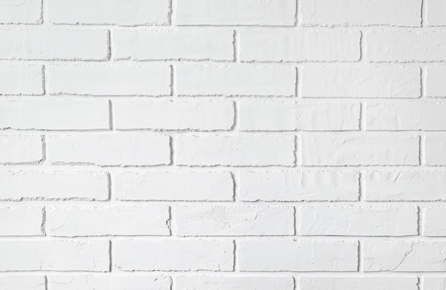 Background of white brick wall with copy space.
