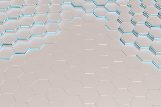Background of white metal hexagons with blue light line. 3d rendering