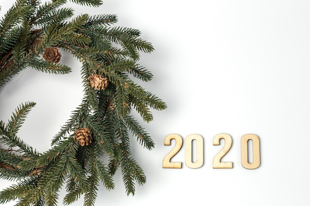 Background with 2020 christmas decoration composition