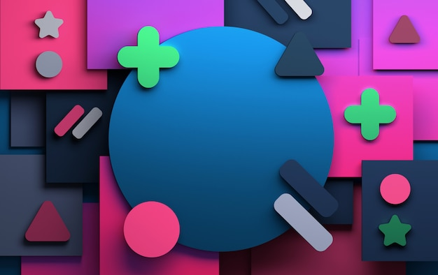 Background with abstract pink green and blue geometric shapes