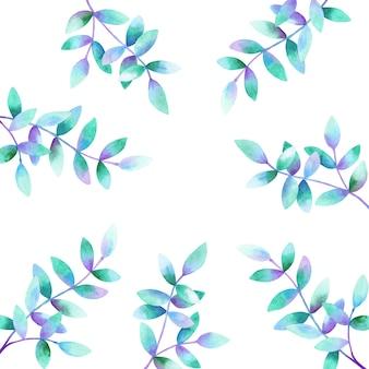 緑紫青の葉と美しい枝の背景。手描きの水彩イラスト。