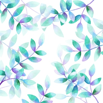 Background with beautiful branches with green purple blue leaves. hand drawn watercolor illustration.