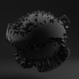Background with black shape, texture. 3d illustration, 3d rendering.