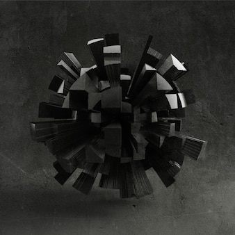 黒の形、質感の背景。 3dイラスト、3dレンダリング。