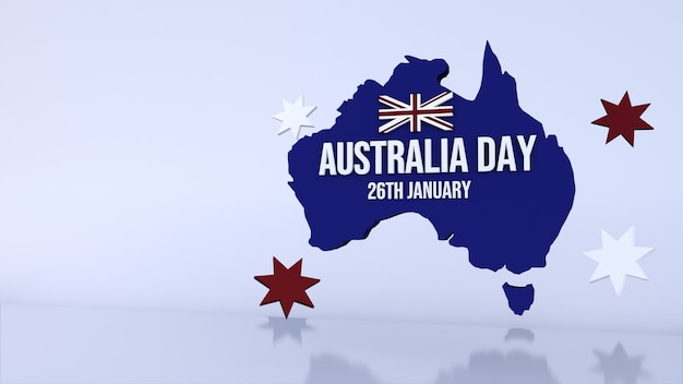 Background with a blue map for australia day. 3d render