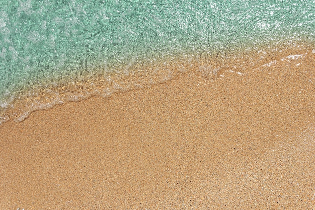 Background with blue sea wave on sandy beach top view with copy space