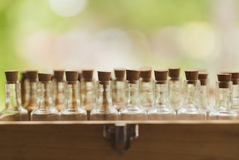 Background with bottles on blur