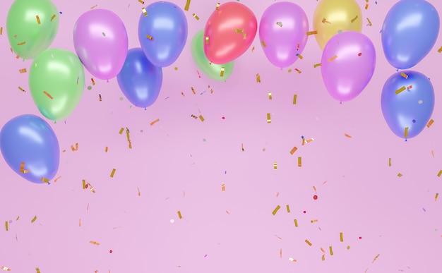 아래로 떨어지는 풀 컬러 색종이와 분홍색 벽에 다채로운 풍선 배경. copyspace. 3d 렌더링