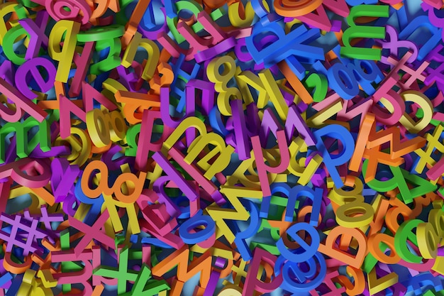 Background with colorful three-dimensional alphabet.