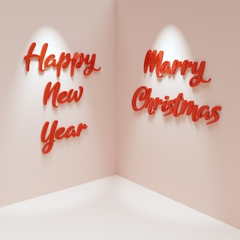 Background with corner and walls with text happy new year