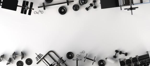 Фон с гантелями и тренажерами для бодибилдинга 3d иллюстрации копирование пространства