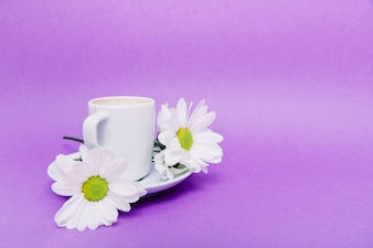 Background with flowers and cup