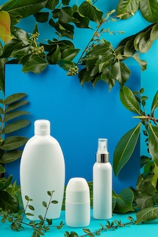 Background with green leaves and plants and bottle of cosmetic. natural scin care concept