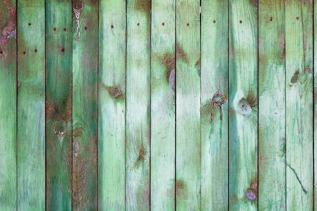 Background with green wooden fence