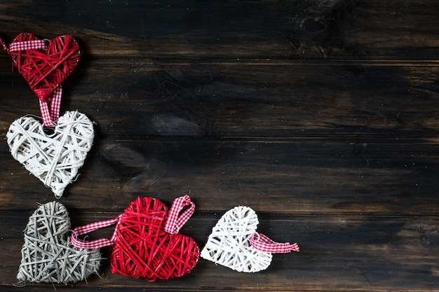 Background with hearts, valentine. valentine's day. love. wicker hearts. place for text. copy space
