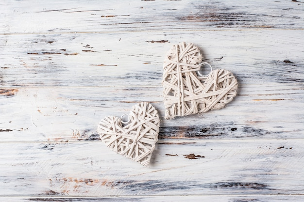Background with hearts, valentine. valentine's day. love. wicker hearts. romantic.