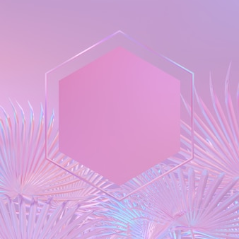 Background with hexagon frame on a tropical leaves. holographic iridesence texture. pink neon light.