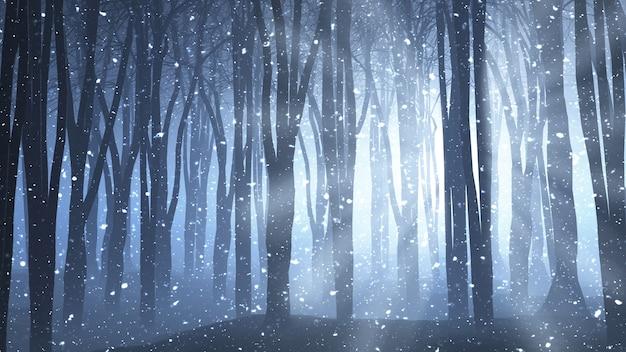 3d rendering di una scena di foresta con i raggi splende attraverso e la neve