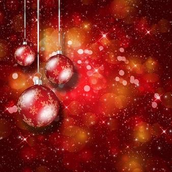 Natale con sfondo bokeh luci e palline appese