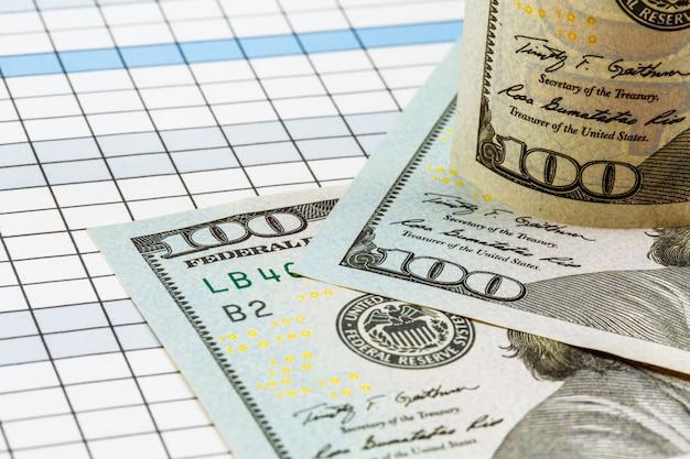 お金の背景。テーブルの上のアメリカのドル札。お金。通貨。現金。世界の主要通貨。