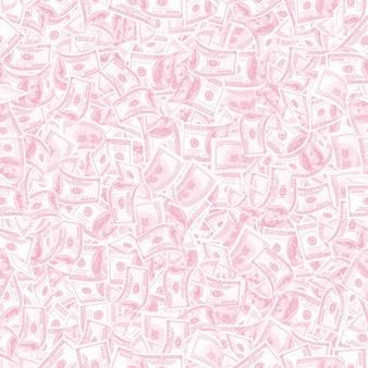 Background with money. seamless texture of 100 dollar bills in trendy light pink tonality