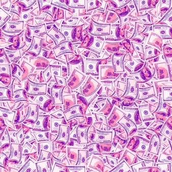 Background with money. seamless texture of 100 dollar bills in trendy neon colors