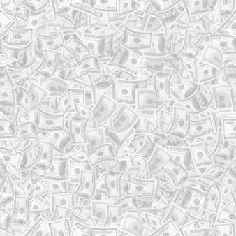 Фон с деньгами. бесшовные текстуры 100 долларовых купюр в светло-серой тональности