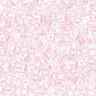 Фон с деньгами. бесшовный фон из 100 долларовых купюр в модной светло-розовой тональности
