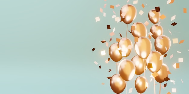 Background with multicolored balloons and ribbons special day backdrop 3d illustration