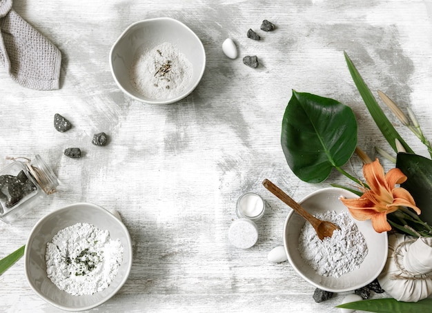 Background with natural ingredients for making a mask for skin care, making a mask at home.