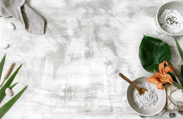 Background with natural ingredients for the preparation of a mask for skin care, preparation of a mask from powder.