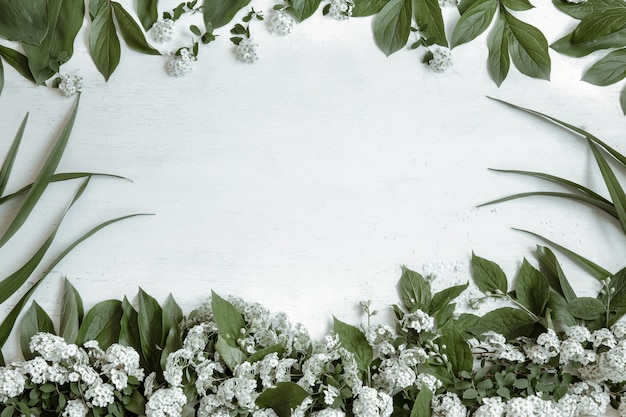 Background with natural leaves and branches of flowers isolated
