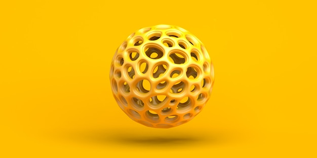 Background with perforated sphere. abstract yellow composition. 3d illustration. banner.
