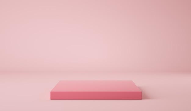Фон с розовым цветом геометрический подиум d визуализации