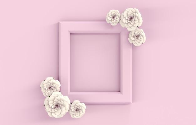 背景にピンクのフレーム、白いバラの花。 3 d夏トップビューの背景。ピンクの背景。
