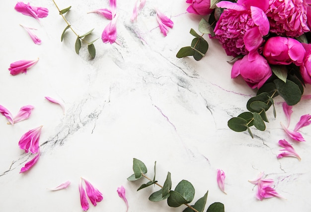 Background with pink peonies