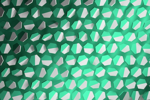 Background with random hexagons  in minty green and white.
