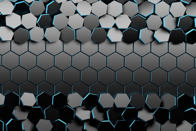 Background with randomly arranged black hexagons and flat ones in the center.