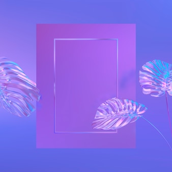 Background with rectangle frame on a tropical leaves. holographic iridesence texture. violet neon light.