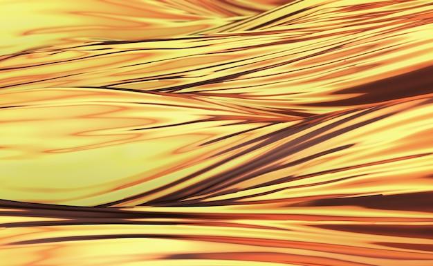Фон с гладкими золотыми волнами и эффектом боке